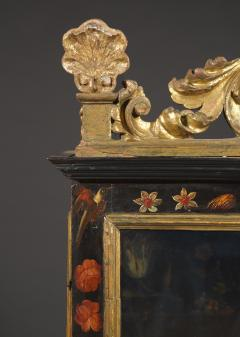 Polychrome Parcel Gilt Hanging Wall Cabinet With Floral Exotic Bird Decoration - 2039392
