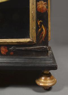 Polychrome Parcel Gilt Hanging Wall Cabinet With Floral Exotic Bird Decoration - 2039401