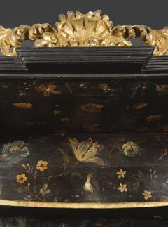 Polychrome Parcel Gilt Hanging Wall Cabinet With Floral Exotic Bird Decoration - 2039402