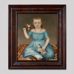 Portrait of a Young Girl Holding a Bouquet of Flowers and a Cat - 71623