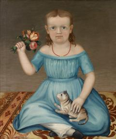 Portrait of a Young Girl Holding a Bouquet of Flowers and a Cat - 71631