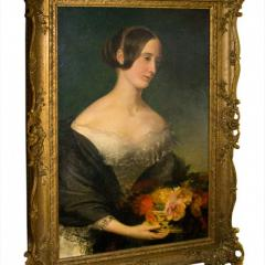 Portrait of a Young Lady with Flowers Early 1800s Oil on Canvas - 143878