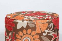 Post Modern Cylindrical Moroccan Pouf Upholstered in Bold Colorful Fabric - 1829876