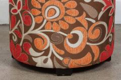 Post Modern Cylindrical Moroccan Pouf Upholstered in Bold Colorful Fabric - 1829877