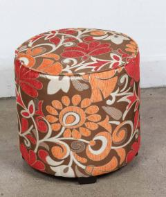 Post Modern Cylindrical Moroccan Pouf Upholstered in Bold Colorful Fabric - 1829879