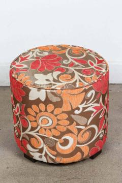 Post Modern Cylindrical Moroccan Pouf Upholstered in Bold Colorful Fabric - 1829880