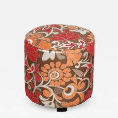 Post Modern Cylindrical Moroccan Pouf Upholstered in Bold Colorful Fabric - 1830293