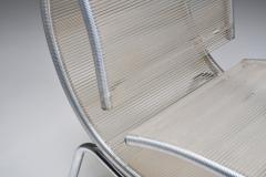 Post modern pair of easy chairs in chrome and plastic wire 1960s - 2019249