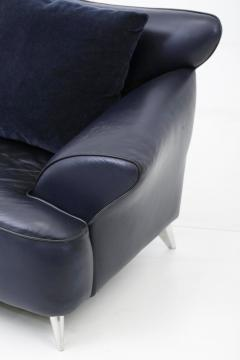 Postmodern Leather and Mohair Lounge Chairs Polished Aluminum Legs circa 1988 - 1795654