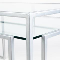 Postmodern steel glass coffee table - 1936318