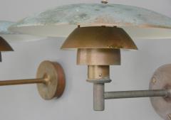 Poul Henningsen Verdigris Copper PH5 Louis Poulson Wall Lights Circa 1950s - 1604338