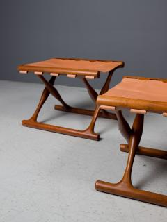 Poul Hundevad Pair of Folding Stools by Poul Hundevad 1950s - 1879166