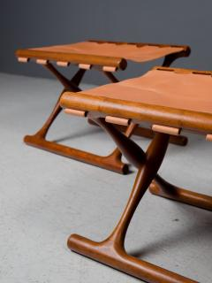 Poul Hundevad Pair of Folding Stools by Poul Hundevad 1950s - 1879178