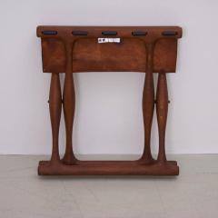 Poul Hundevad Signed Guldhoj Teak and Leather Folding Stool by Poul Hundevad for Vamdrup - 542867
