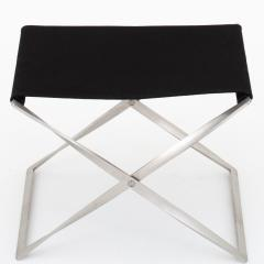 Poul Kj rholm PK 91 Folding stool in black canvas - 907210