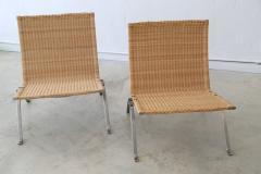 Poul Kj rholm Pair of PK 22 Poul Kjaerholm Danish Mid Century Modern Wicker Lounge Chairs - 727887