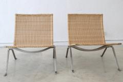 Poul Kj rholm Pair of PK 22 Poul Kjaerholm Danish Mid Century Modern Wicker Lounge Chairs - 727888