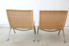 Poul Kj rholm Pair of PK 22 Poul Kjaerholm Danish Mid Century Modern Wicker Lounge Chairs - 727893