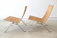 Poul Kj rholm Pair of PK 22 Poul Kjaerholm Danish Mid Century Modern Wicker Lounge Chairs - 727900