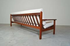 Poul Volther Poul Volther Danish Modern Sculptural Teak Sofa in Italian Boucle - 1930561