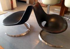 Preben Fabricius Pair of Rare Danish Scimitar Lounge Chairs - 109686