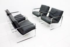 Preben Fabricius Set of Four Preben Fabricius Lounge Chairs in Black Leather by Walter Knoll 1972 - 456408
