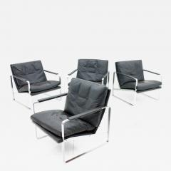 Preben Fabricius Set of Four Preben Fabricius Lounge Chairs in Black Leather by Walter Knoll 1972 - 458896