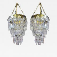 Precious Pair of Louis XV Style French Bronze and Crystal Pendant Lights - 100488