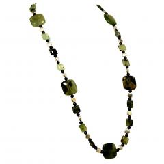 Prehnite Statement Necklace with Silver accents - 1900136