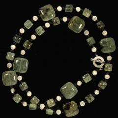 Prehnite Statement Necklace with Silver accents - 1900138