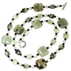 Prehnite Statement Necklace with Silver accents - 1900139