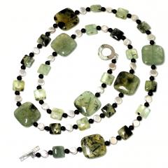 Prehnite Statement Necklace with Silver accents - 1900142