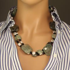 Prehnite Statement Necklace with Silver accents - 1900144