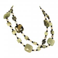 Prehnite Statement Necklace with Silver accents - 1901845
