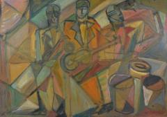 Primavera Atelier du Printemps French Modernist Cubist Trio of Musicians designed by Primavera - 1418279
