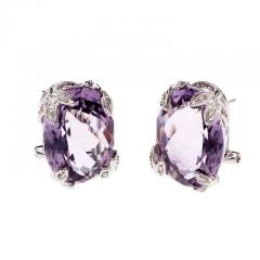 Purple Oval Amethyst Diamond Gold Earrings - 389423