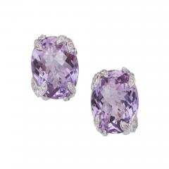 Purple Oval Amethyst Diamond Gold Earrings - 389603