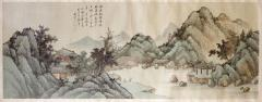 QiaoNian Zhou Framed Antique Chinese Landscape Ink Painting Zhou QiaoNian Qing Dynasty - 1429991