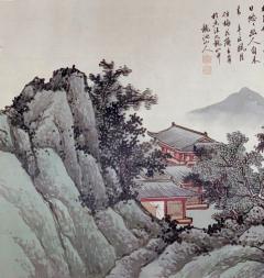QiaoNian Zhou Framed Antique Chinese Landscape Ink Painting Zhou QiaoNian Qing Dynasty - 1429993