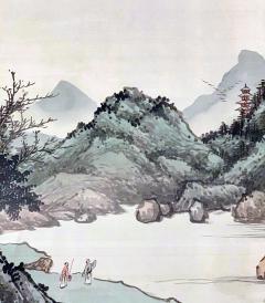 QiaoNian Zhou Framed Antique Chinese Landscape Ink Painting Zhou QiaoNian Qing Dynasty - 1429994