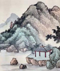 QiaoNian Zhou Framed Antique Chinese Landscape Ink Painting Zhou QiaoNian Qing Dynasty - 1429995