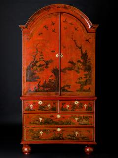 A Queen Anne Red-Japanned Cabinet on Chest