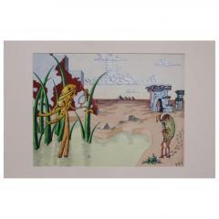R E Schwelke Surrealist Landscape Watercolor Signed R E Schwelke and Dated 1947 - 1211064