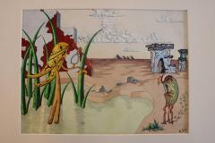 R E Schwelke Surrealist Landscape Watercolor Signed R E Schwelke and Dated 1947 - 1211065