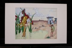 R E Schwelke Surrealist Landscape Watercolor Signed R E Schwelke and Dated 1947 - 1211066
