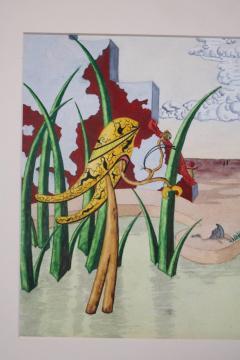 R E Schwelke Surrealist Landscape Watercolor Signed R E Schwelke and Dated 1947 - 1211067