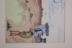 R E Schwelke Surrealist Landscape Watercolor Signed R E Schwelke and Dated 1947 - 1211068