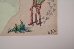 R E Schwelke Surrealist Landscape Watercolor Signed R E Schwelke and Dated 1947 - 1211070