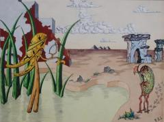 R E Schwelke Surrealist Landscape Watercolor Signed R E Schwelke and Dated 1947 - 1211391