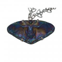 R Lalique Iridescent Bat with Silver Art Nouveau Chain - 751073